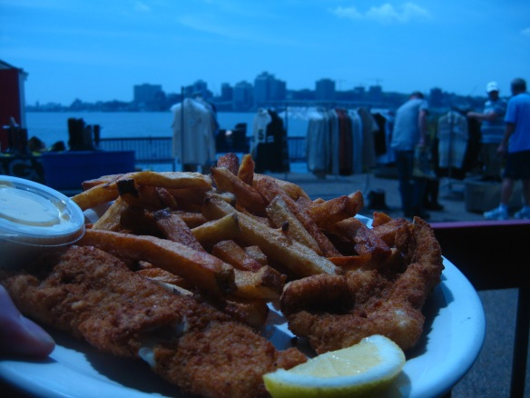 Evan's fish 'n' chips - you can't go wrong with the view.